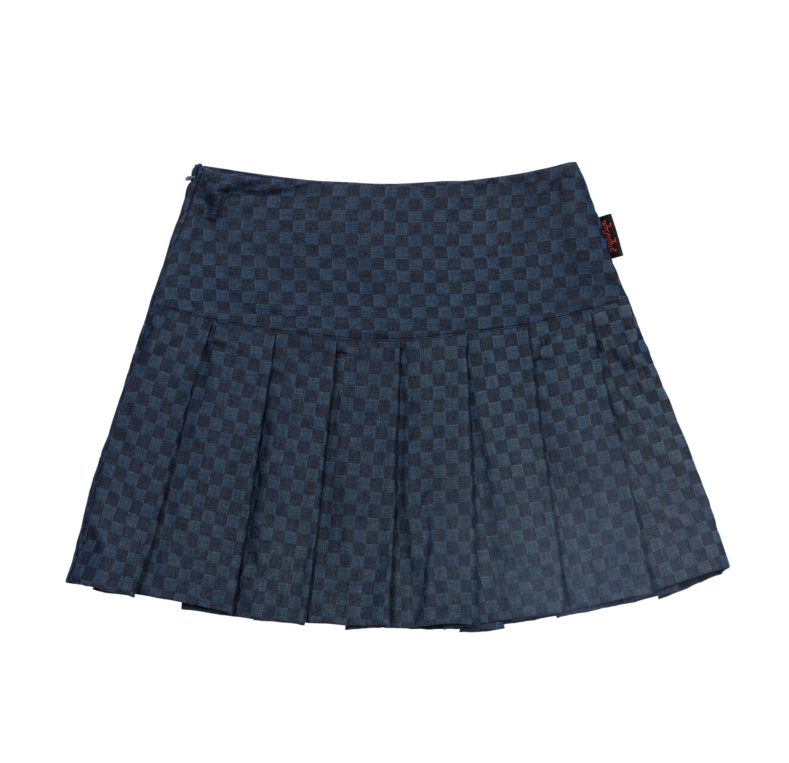 pompom skirt-navy check board