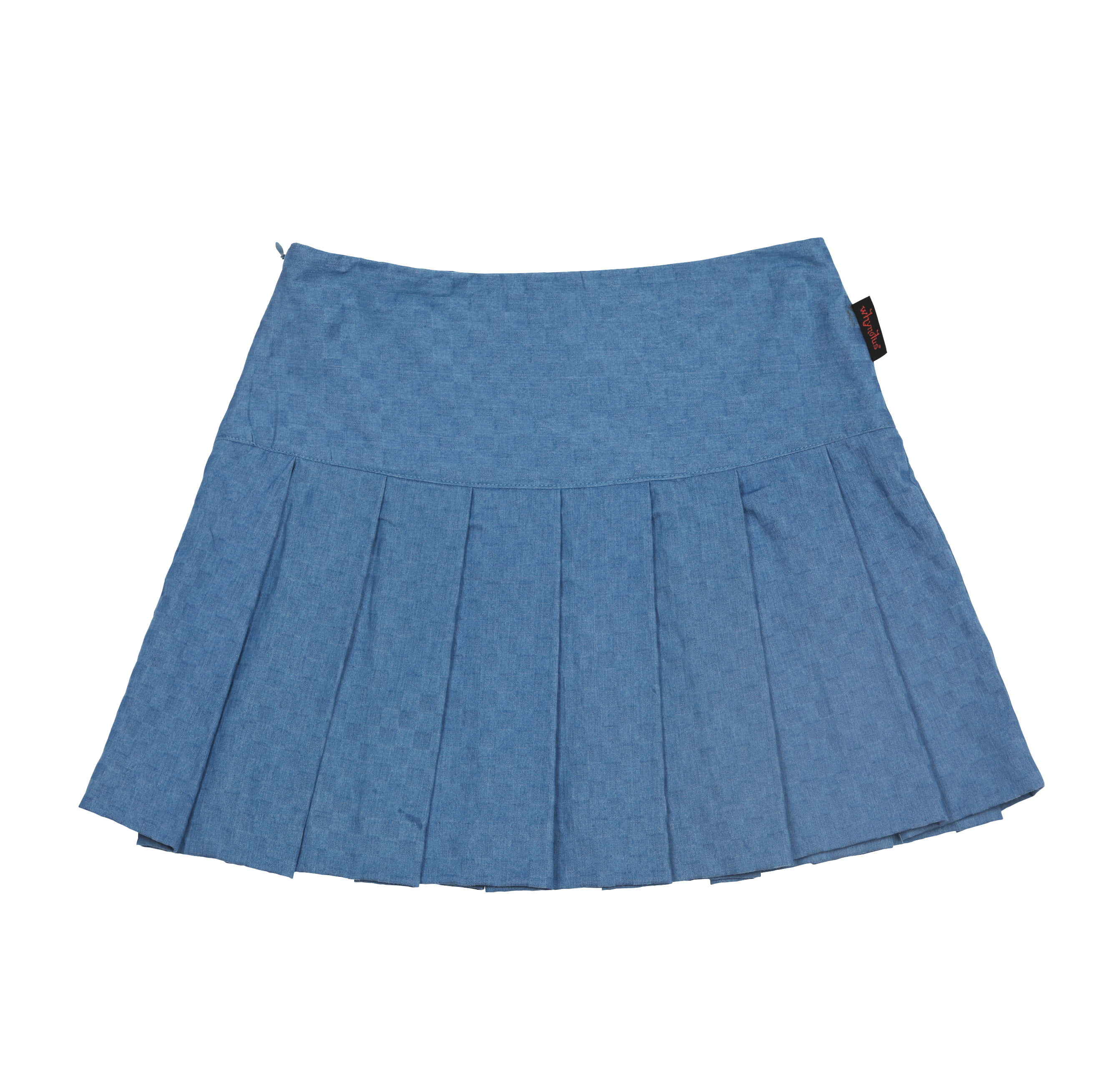 pompom skirt-sky checkboard