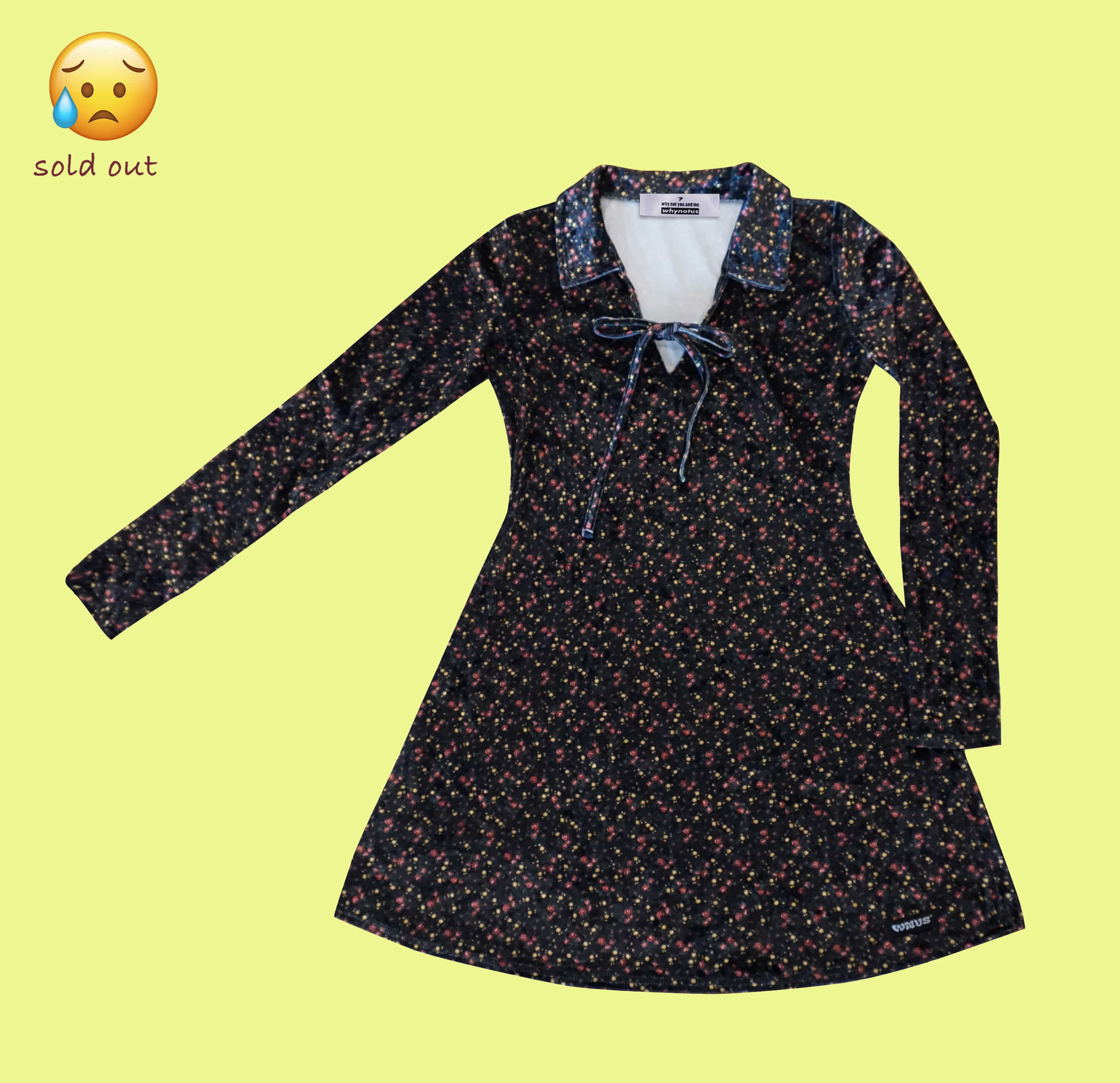 ribbon dress black flower