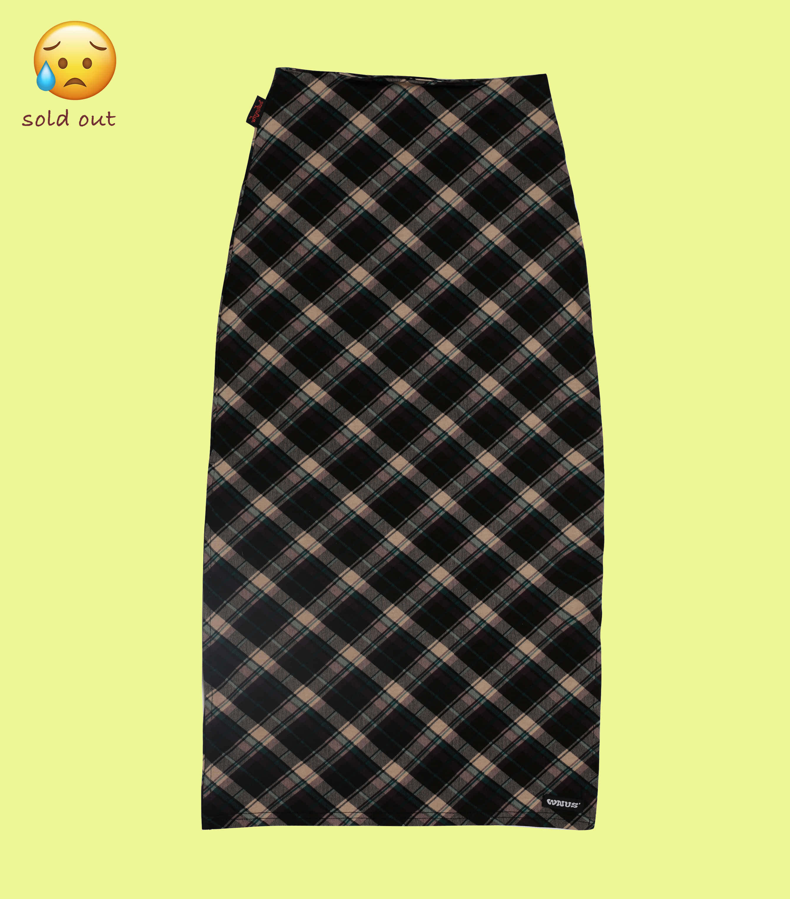 pencil long skirt-violet check