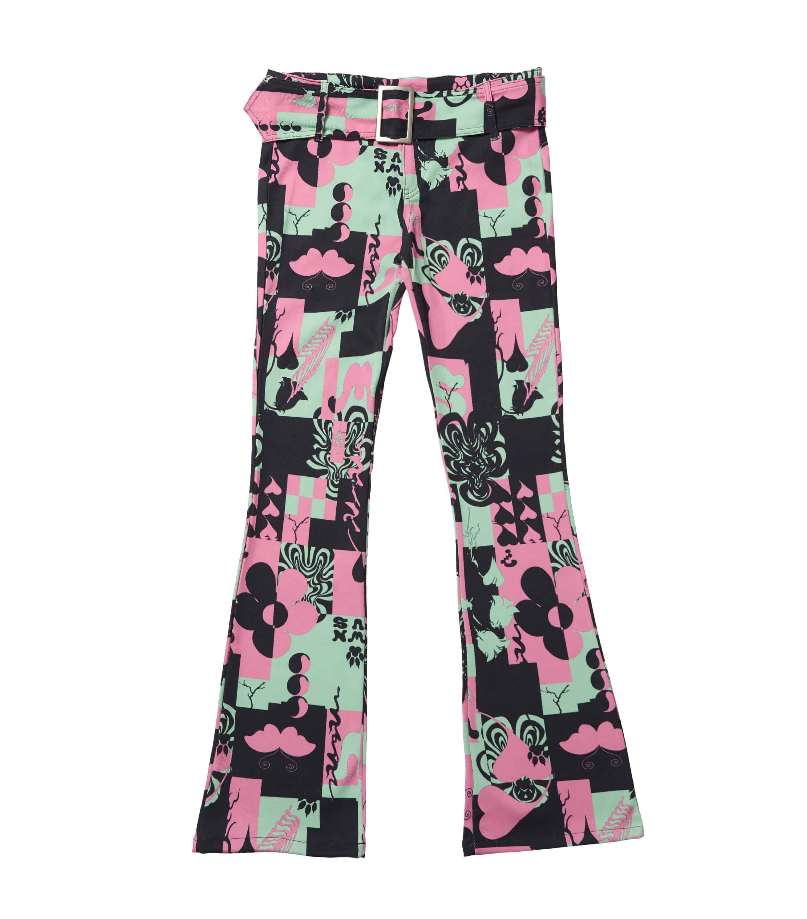 groovy why big buckle pants - green